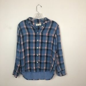 Madewell plaid flannel button up blue and red XS